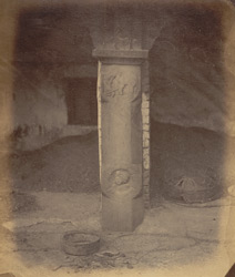 Ancient railings around the Mahabodhi Temple, Bodh Gaya: pillar with medallion figure.